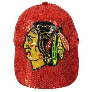 Chicago Blackhawks Hockey Women's Red Bling Hat